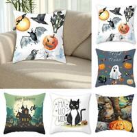 Halloween Baumwolle Leinen Kissenbezug Pumpkin Skull Sofa Throw Kissenbezug-RO