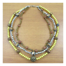 "17"" Necklace Costume Jewellery Autum Colours Orange Brown Silver Fashion 122"