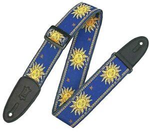 "Levy's Guitar Strap - Blue 2"" Wide Sun Design Jacquard Weave Style"