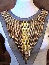 "12"" STUDS - BEAD - BIB EGYPTIAN Neckline  Applique  OLD BRASS - MUTTED GOLD"