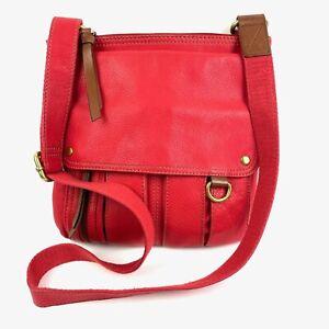 Fossil Morgan Traveler Crossbody Bag Red Leather Multifunctional Handbag Purse