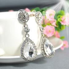 Fashion Women Colorful Rhinestone Crystal Dangle Ear Stud Earrings Party Jewelry