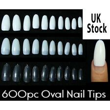 600pcs Oval Half Cover False Nail Tips Fake Nails With Glue And Nail File