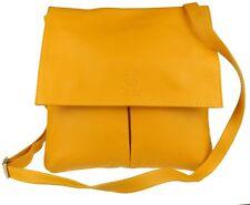 Double Pockets Italian Genuine Leather Messenger Bag Crossbody Shoulder Designer
