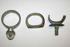 3 Antique 19th c. Horse Harness Brass Rein Guides - One is Civil War Era