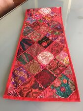 New Rajasthani Red Wall Hanging, Table Runner, Throw Embroidered Patchwork  75""