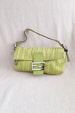 * FENDI * Lime Verde Con Perline MAMA Baguette borsa a tracolla