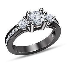 Diamond Women's Engagement Wedding Ring 14K Black Gold Over Round Cut