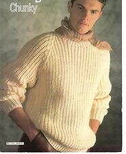 8c29146cd77c4c Mens Fishermans Rib Sweater Chunky Knitting Pattern 99p