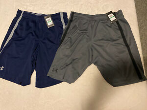 Large Mens Under Armour Athletic Gym Mesh Basketball Shorts Lot Of 2 Pairs New L
