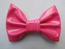 PINK PVC SHINY LEATHER LOOK 3 INCH HAIR BOW GIRLS ALLIGATOR CLIP NEW