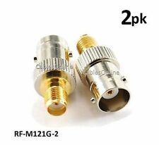 2-PACK BNC Female to Gold-Plated SMA Female Coaxial RF Adapter, RF-M121G-2