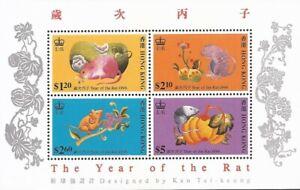 Hong Kong - 1996 Year of the Rat - 4 Stamp Souvenir Sheet - Scott #737a