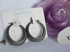 """Beautiful Lia Sophia """"CHIC"""" Black Hoop Earrings, 1-1/4"""" Hoop, NWT"""