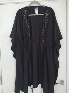 Yours Black Embellished Beach Cover Up Kimono Plus Size 28/30/32 Summer Pretty S