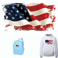 US National Flag Patch Printed Sticker Heat Transfer Iron on Patches for Clothes