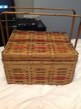 Vintage Retro Woven Bamboo Style Picnic Basket with Handles Mid Century