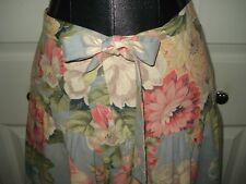 Vintage 1940's 1950's Blue Floral Curtain Fabric Wrap Skirt *Handmade* Sz Small