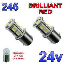 2 x Red 24v LED BA15s 246 R10W 13 SMD Number Plate Interior Bulbs HGV Truck