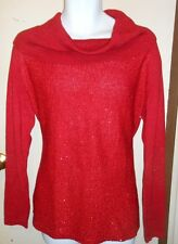 Jones New York Collection Woman Plus Size Bling Sequin Cowl Neck Sweater Ruby 2X