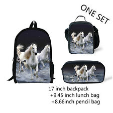 White horse Girl Boy Backpack Lunch box Pencil Pen Bag Back to School Study 3pcs