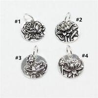 925 Sterling Silver Lotus Disc Circle Charms Pendants for Yoga Meditation