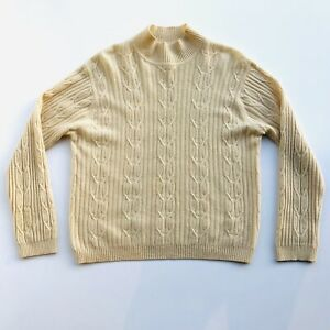 TALBOTS PETITES WOMEN'S CASHMERE CABLE-KNIT SWEATER YELLOW SIZE MEDIUM