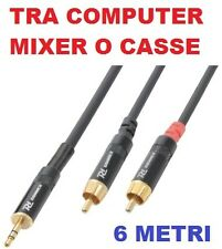 CAVO AUDIO 6 MT. PRO LIVE COMPUTER jack 3,5 mm + 2 spine rca CONNETTORI DORATI