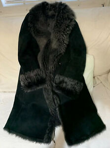 Genuine Toscana Sheepskin Shearling coat Black Size 8-10 Excellent Condition
