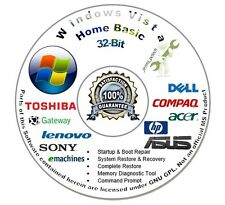 Windows Vista Home Basic 32-Bit Install Boot Repair Recovery DVD CD Disc Disk