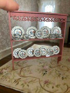 Vintage Miniature Dollhouse OOAK Nancy Van Horn Pink Wood China Shelf Display