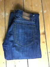 AllSaints Mens Jeans Relaxed Fit Straight Leg Distressed Dark Blue Waist 30 New