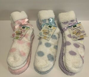 Earth Therapeutics 2-pk Shea Butter Moisturizing Socks Dotted & Solid YOU CHOOSE