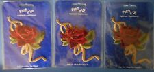 PATCH IT UP Applique Iron Embroidered Red Rose Patches Gold Green Lot