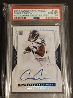 2017 National Treasures #155 Chris Carson/RC/AU/25 - HOLO SILVER, PSA 10 / POP 1
