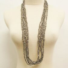 """36"""" Multi Strand Silver Color Bohemian Handmade Seed Bead Faux Silver Necklace"""