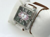 Nemesis Women Watch Wide White Genuine Leather Band Analog Watch Made in USA