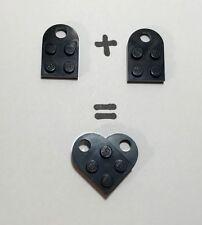 LEGO Nero Amore Cuore 2 x PIASTRE San Valentino Natale Anniversario Regalo