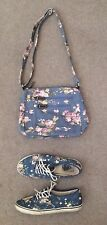 Ladies Floral Canvas Off the Wall Vans Fashion Sport Shoes and Purse Size 7