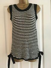 BNWT NEXT Ladies Black White Stripe Fine Knit Vest Top