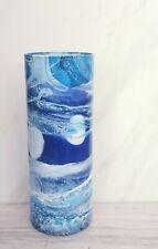 Modern Blue and White Glass Vase/Hand Painted Blue Vase