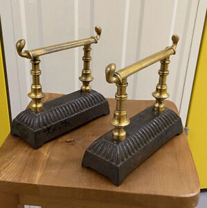 Superb Antique (Victorian) Pair of Cast Iron and Solid Brass Fire Dogs