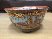 Y0638 CHAWAN Kutani-ware red confectionery bowl Japanese antique Japan viintage