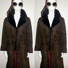 Vintage 1970's Full Length Dark Brown Fur Lined Suede Coat. Size 12.