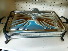 Vintage Sheridan Silverplate Casserole Dish Holder Footed Serving Tray 8.5 x 13""