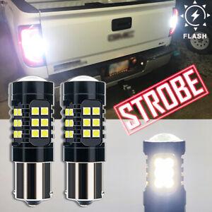 LED STROBE → Solid White 1156 7506 Back Up Light Bulb Safety Reverse Backup Lamp