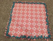 New Handmade Coral Abstract Tie Blanket. 56 X 40""