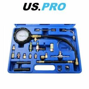 US PRO Fuel Pump Pressure Tester For Schrader Test Port Systems Petrol & Diesel