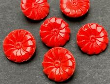 6 Delightful Vintage Red Glass 3D Flower Buttons - 1.4 cm