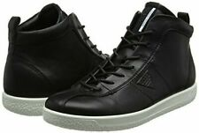 ECCO Soft 1Black Womens Hi-Top Leather Trainers Size UK 4 -4.5 EU 37